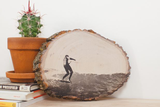 Wood slice photo transfer - picture of a surfer