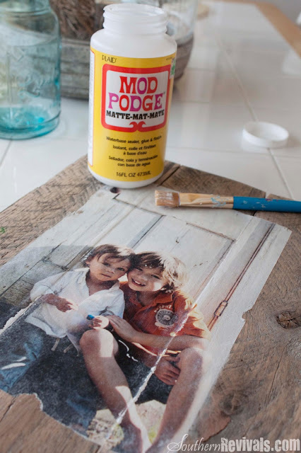 Photo transferred onto pallet wood with mod podge and paintbrush