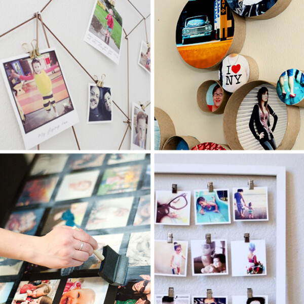 collage of DIY photo display ideas