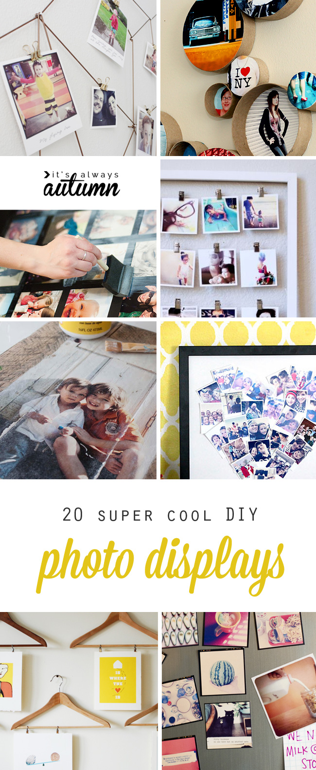 collage of cool DIY photo display ideas
