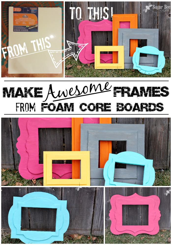 Scalloped shaped cutout photo frames in various colors made from foam core boards