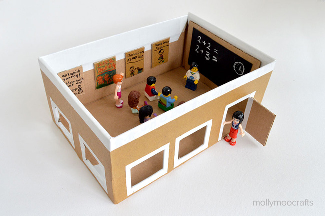 School room for lego minifigs made from a cardboard box