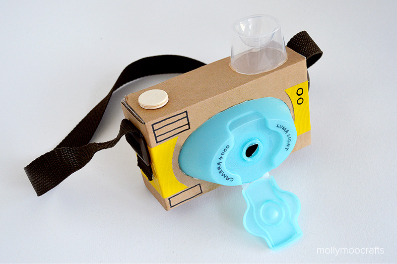 A toy camera made from cardboard