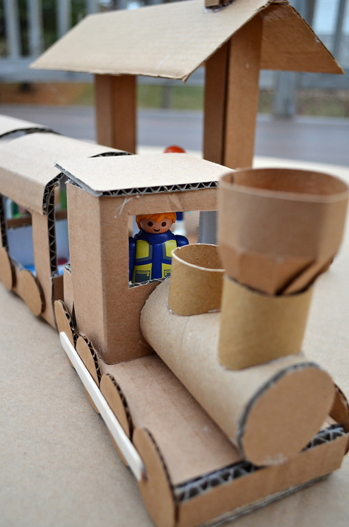 Christmas train toy made from cardboard