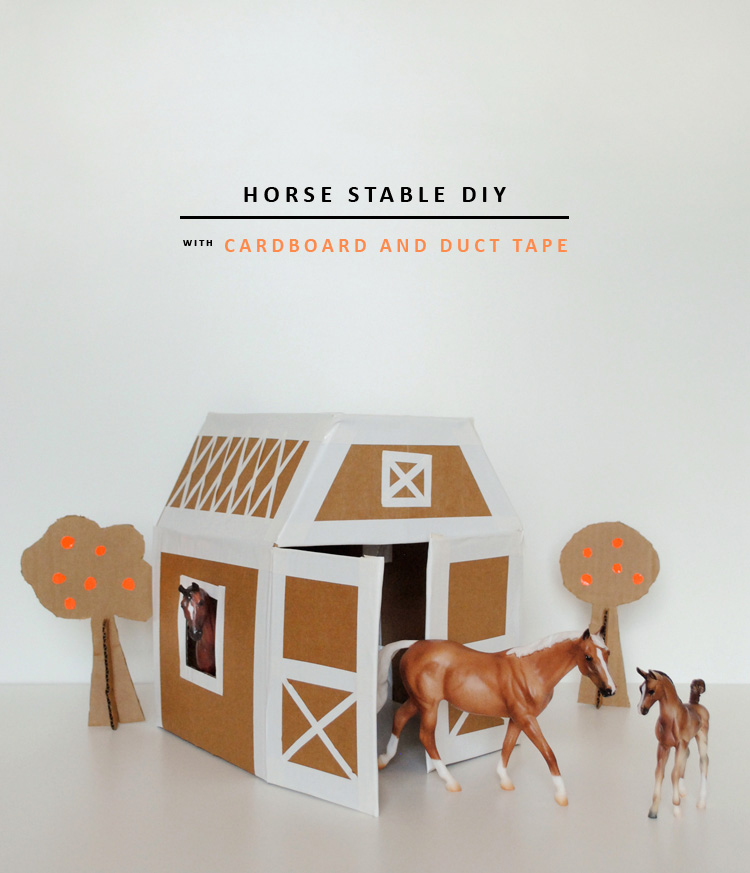 DIY horse stable made from cardboard and duct tape