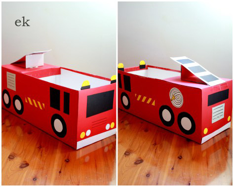 Fire engine made from a cardboard box