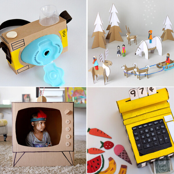 collage of cardboard toys