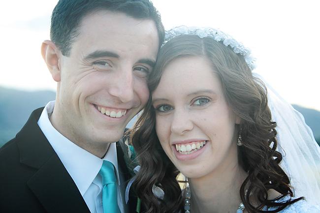 Closeup of a bride and groom