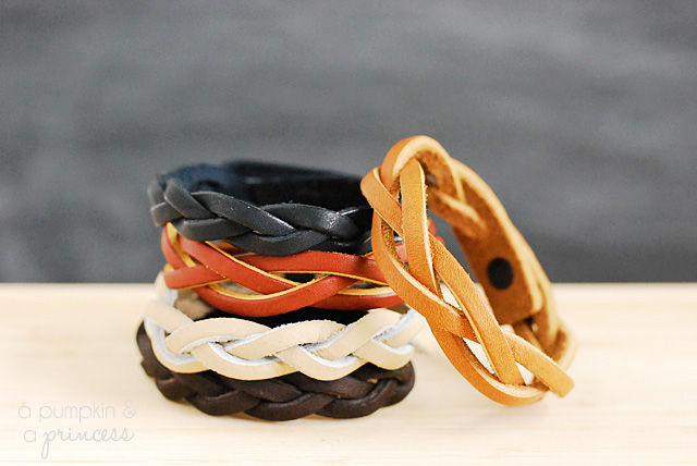 Braided leather bracelets in a stack