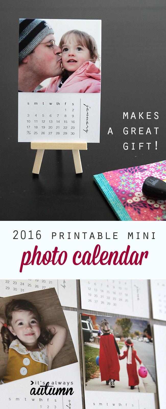 Mini DIY photo calendar