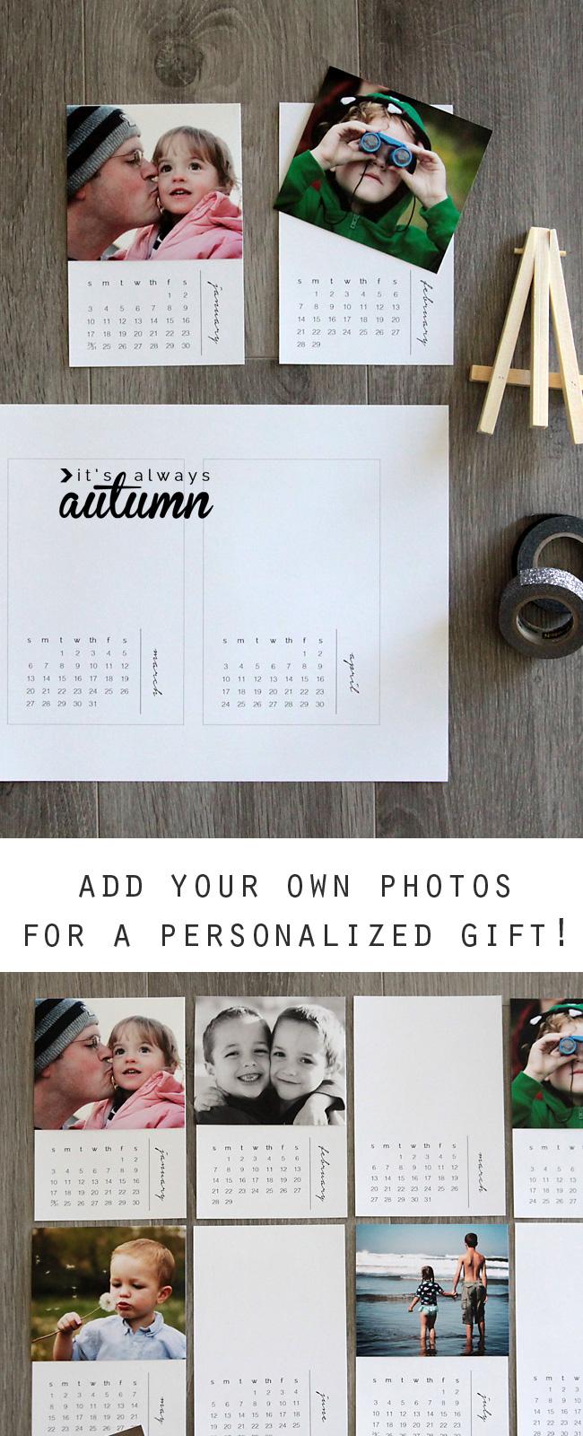 Mini photo calendar printable pages