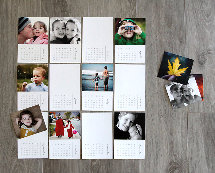 Mini photo calendar pages, some with photos adhered