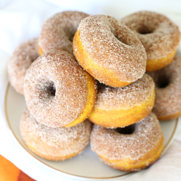 Pumpkin spice donuts with cinnamon sugar topping
