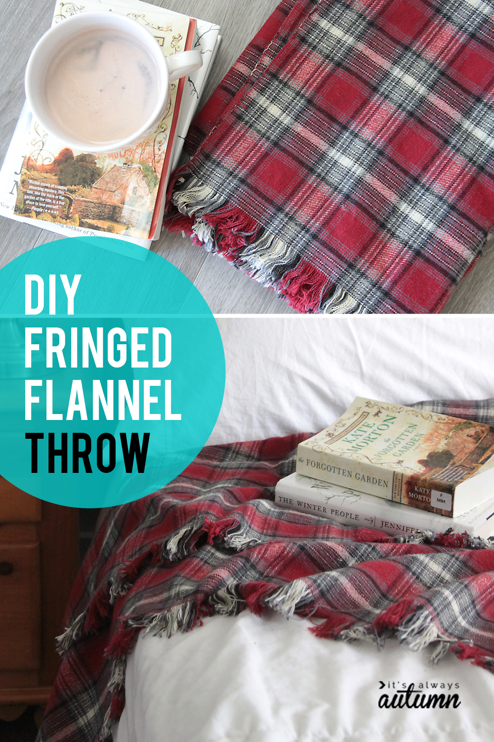 Learn how easy it is to make this DIY flannel throw blanket with cute fringed edge.