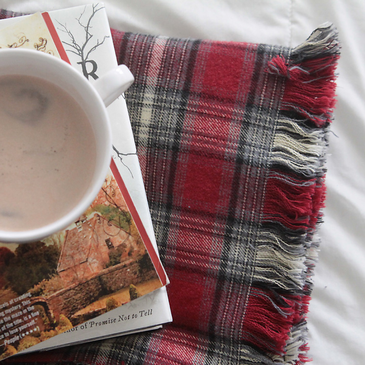 DIY Fringed flannel throw blanket on a bed with books and cocoa