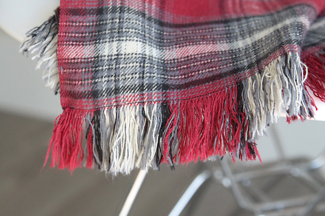 Fringed edge of flannel throw blanket