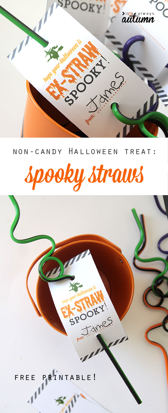 Great idea for a non-candy Halloween treat or party favor: spooky straws with free printable tag
