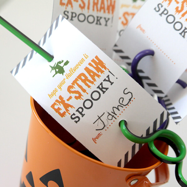 Crazy straws with Halloween tags on them