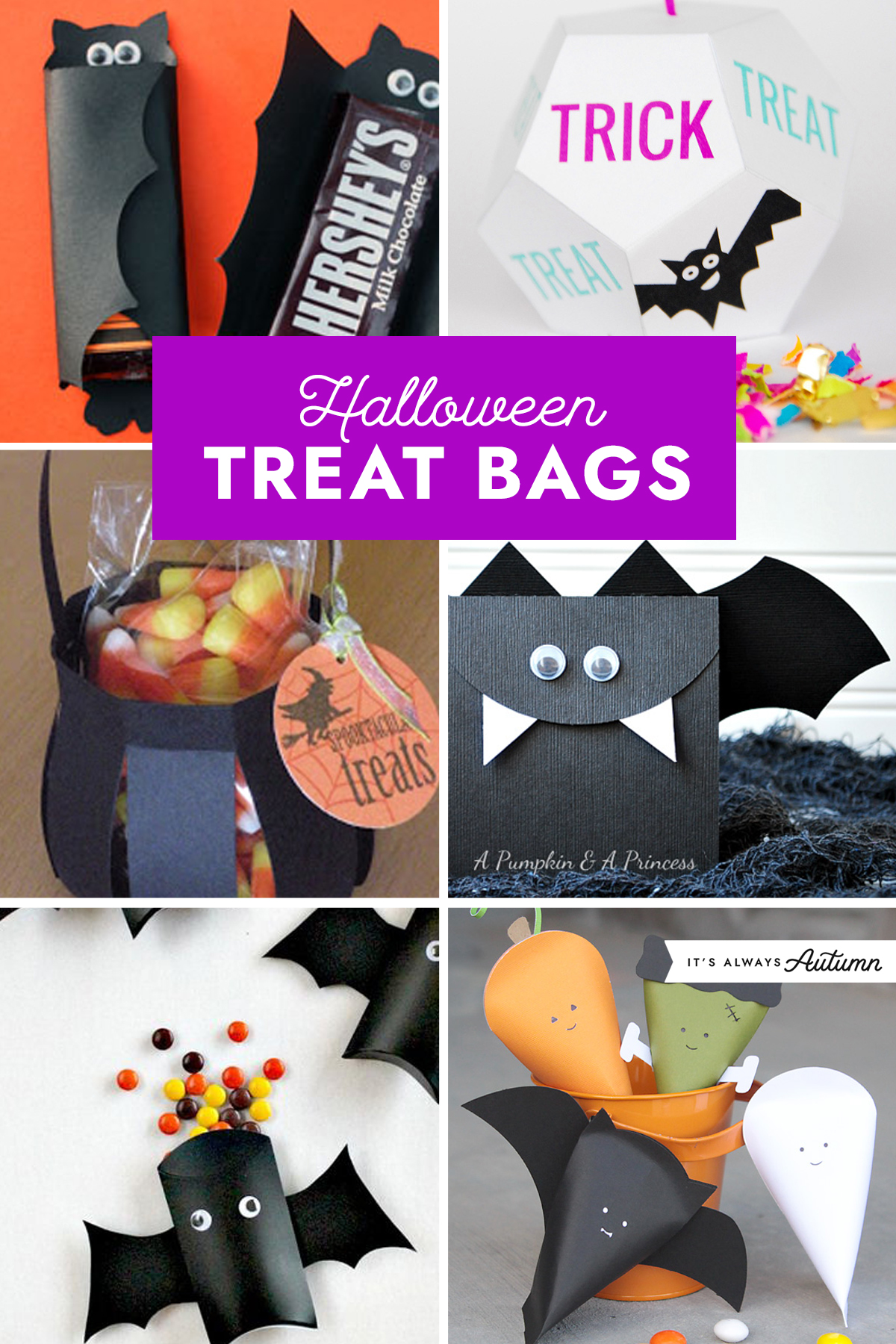 Halloween treat bags collage