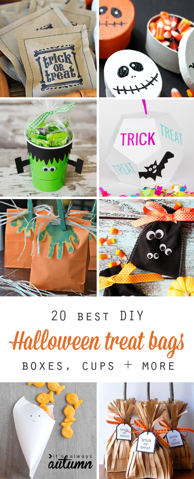 collage of DIY Halloween treat containers