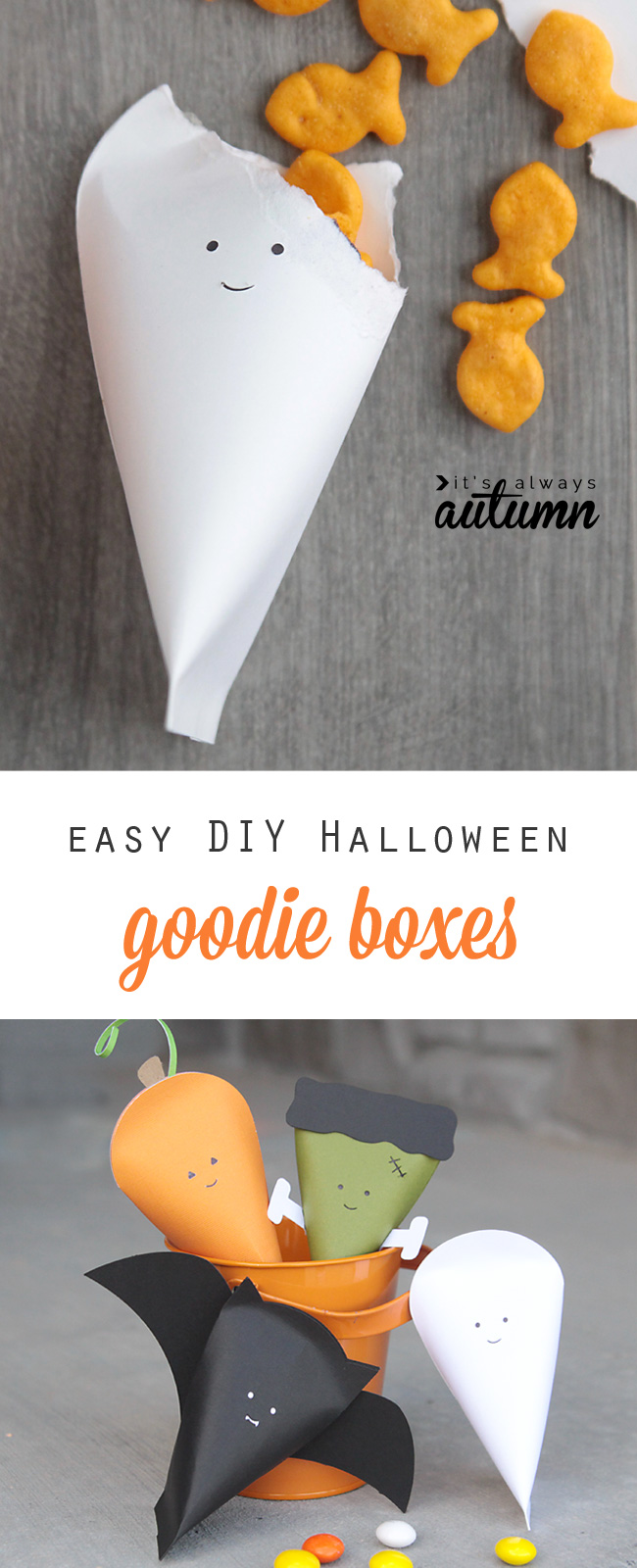 Paper Halloween goodie boxes