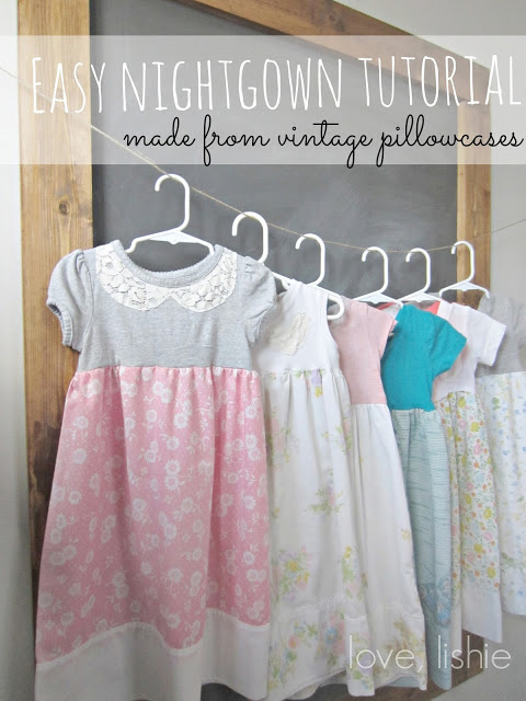 A row of easy to sew nightgowns hanging on a clothesline