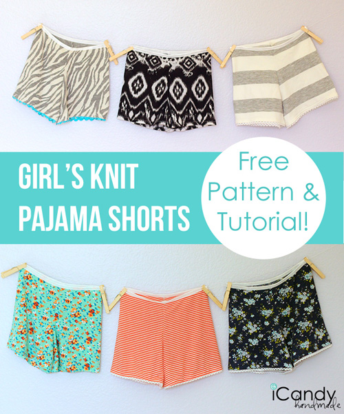 Girls pajama shorts hanging on a clothesline with free pattern and tutorial
