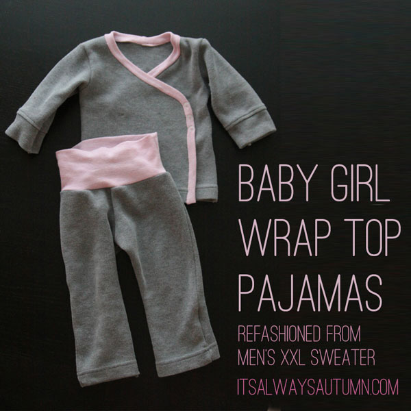 Wrap top pajamas for a baby girl made from a sewing tutorial