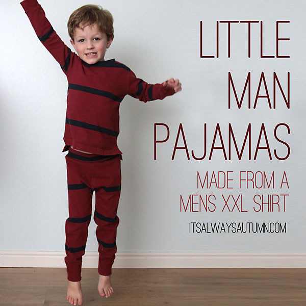 A little boy in pajamas made from a mens shirt