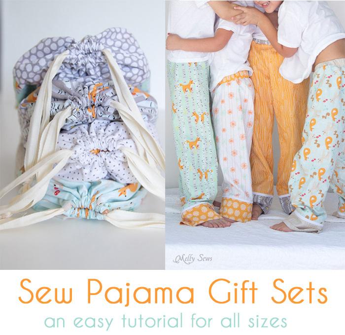 Kids wearing homemade pajamas and fabric carry bags