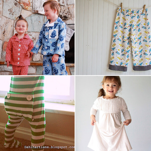 A collage of kids pajamas sewing tutorials