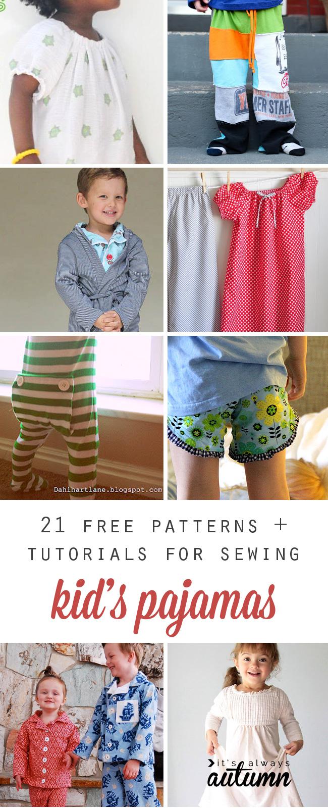 Collage of kids wearing pajamas made from free sewing patterns