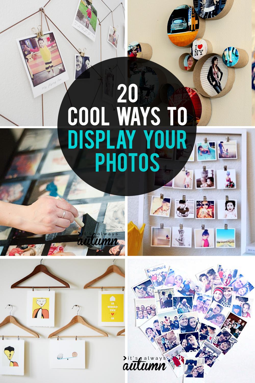 20 cool ways to display your photos. DIY photo display ideas.