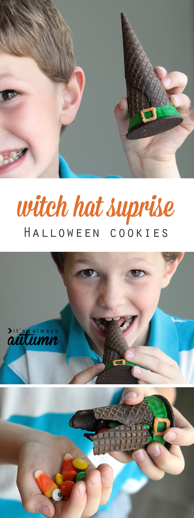 boy eating a cookie that looks like a witch hat