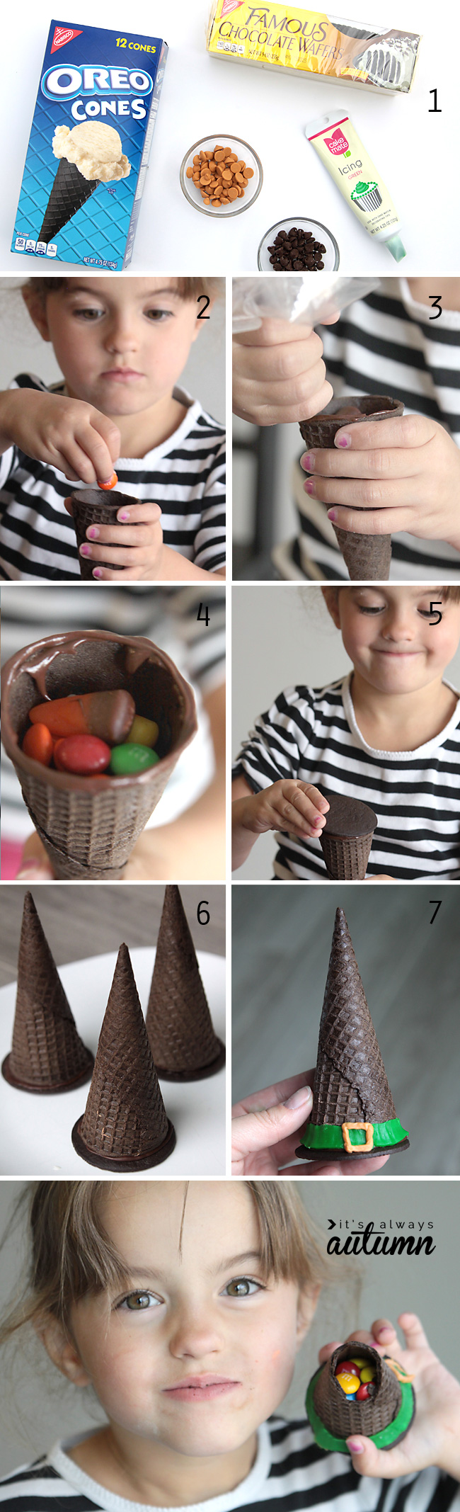 Making witch hat cookies with chocolate wafers and Oreo ice cream cones, filled with candy and glue together with melted chocolate