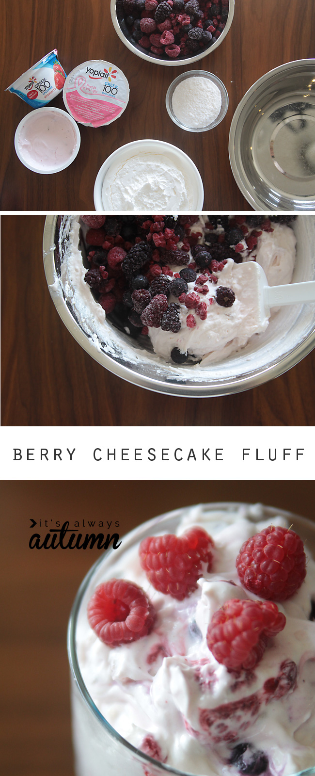 This berry cheesecake fluff is quick and easy to make and works for a side dish or light holiday dessert!