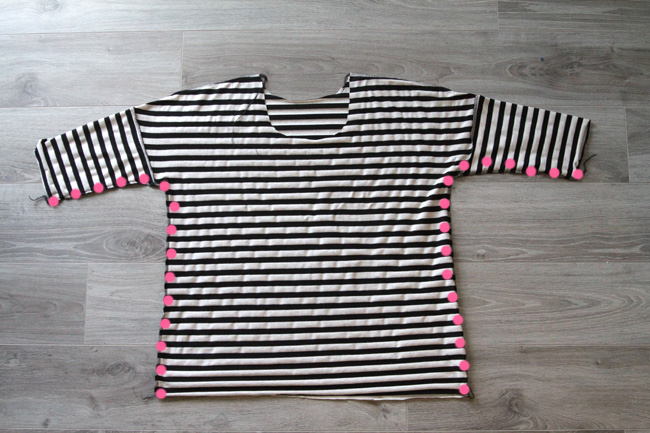 The breezy tee with side seams marked