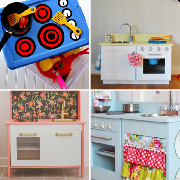 collage of DIY play kitchens for kids