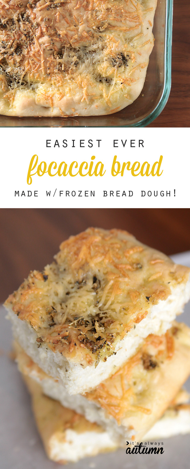 Easiest ever focaccia bread made with frozen bread dough