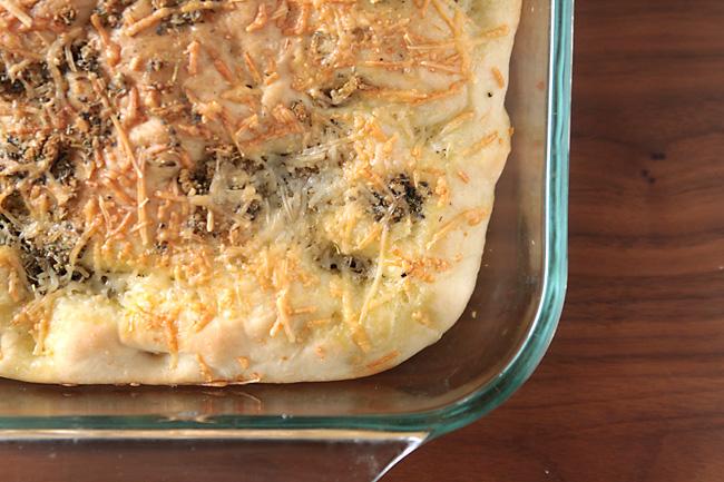 Focaccia bread in a 9x13 pan