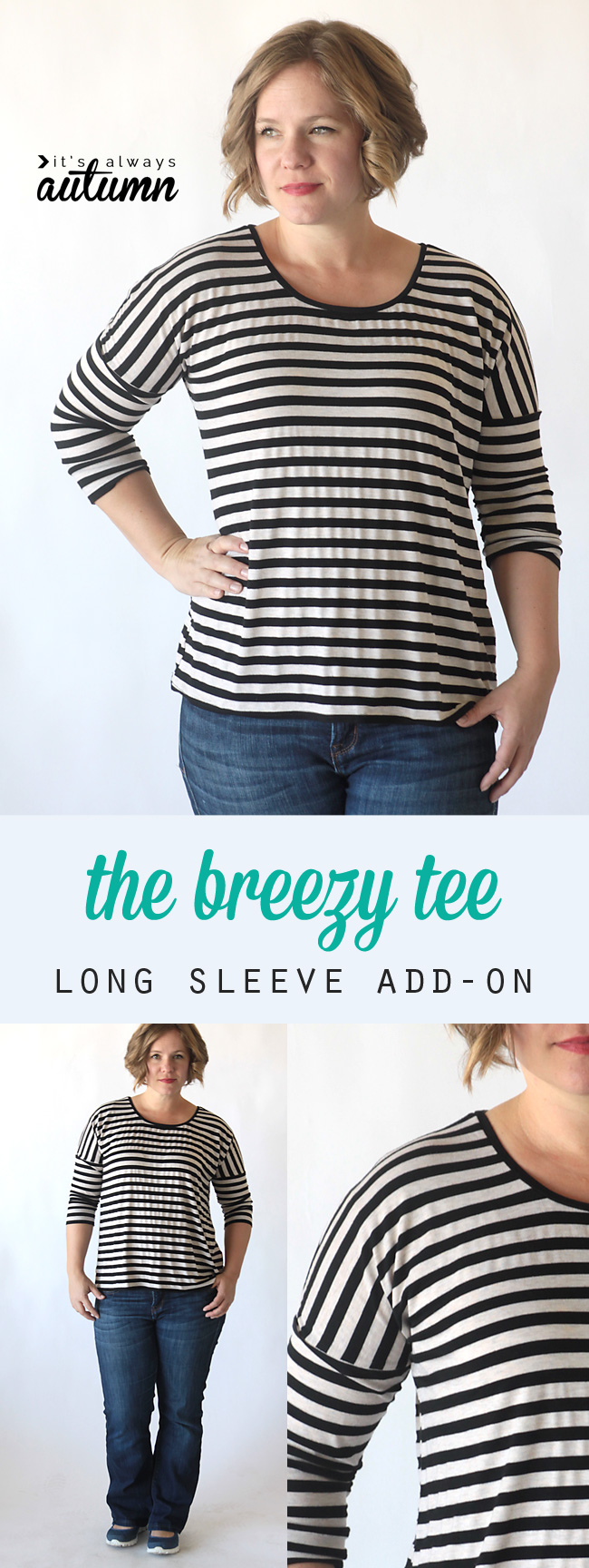 A woman wearing the breezy tee with long sleeves