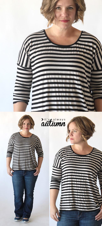 A woman wearing a striped dolman sleeve t-shirt
