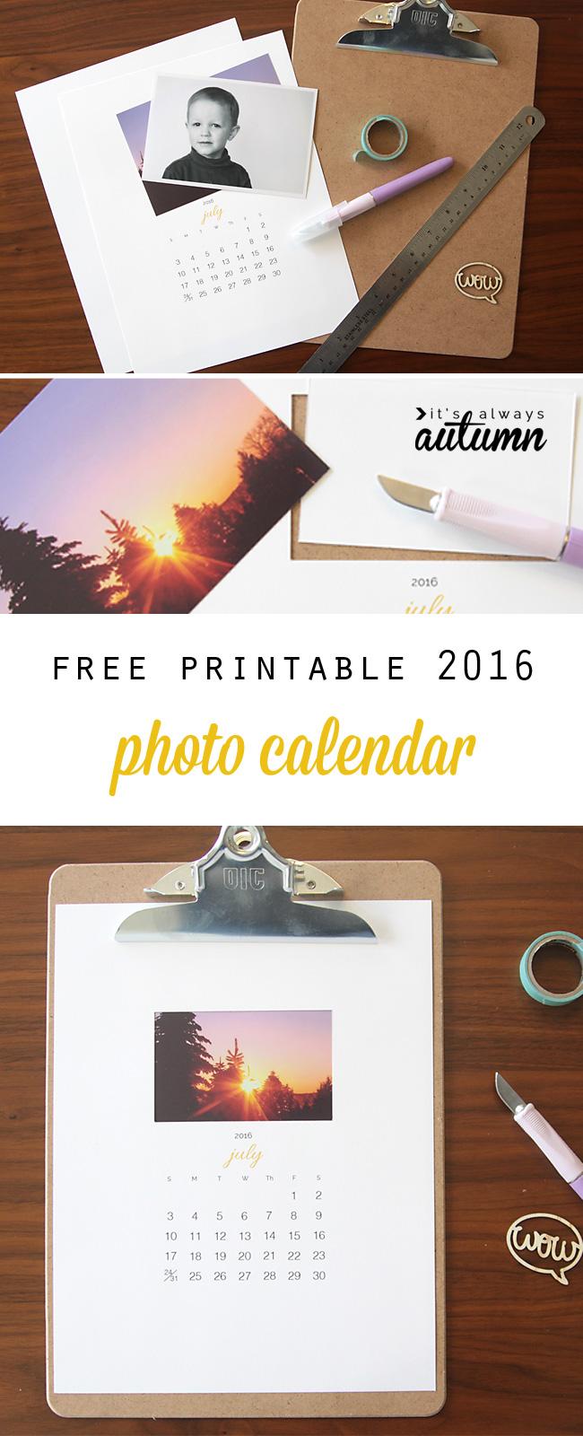 Free printable calendar with photos added