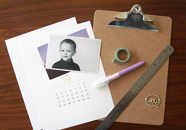 Printed calendar pages, photos, exacto knife, ruler, clipboard