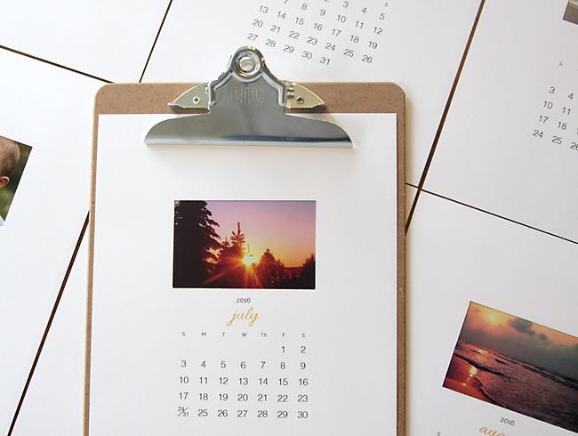 DIY photo calendar page on a clipboard
