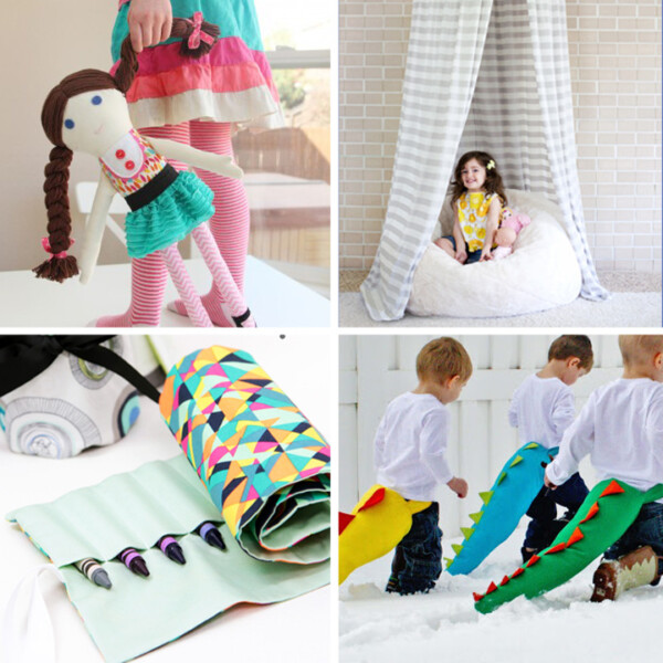 Collage of easy sewing projects for kids