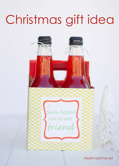 Box of soda bottles with tag that says soda lighted you\'re our friend