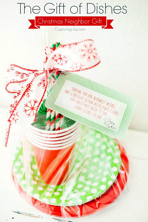 Paper dishes neighbor gift