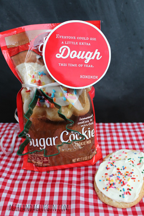 Cookie dough mix with neighbor gift tag