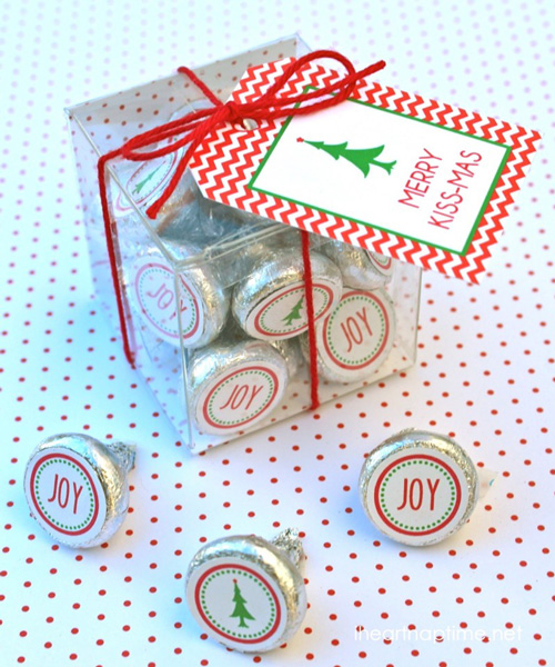 Candy kisses in a box with Merry Kissmas tag